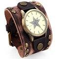 David Kabel New Retro Men women Punk Rock Wide Leather Bracelet Cuff Men bracelets & bangles with watch WB01434