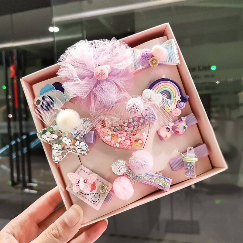 10pcs/set Gift Box Hair Clips For Girls Hair Accessories Lovely Cartoon Bow Kids Hairpins   Headwear   Princess Flower Barrettes