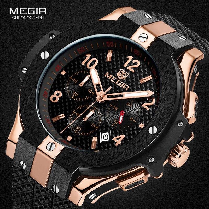 MEGIR hot casual quartz watches men fashion waterproof sport running watch for man chronograph cycling wristwatch for male 2050