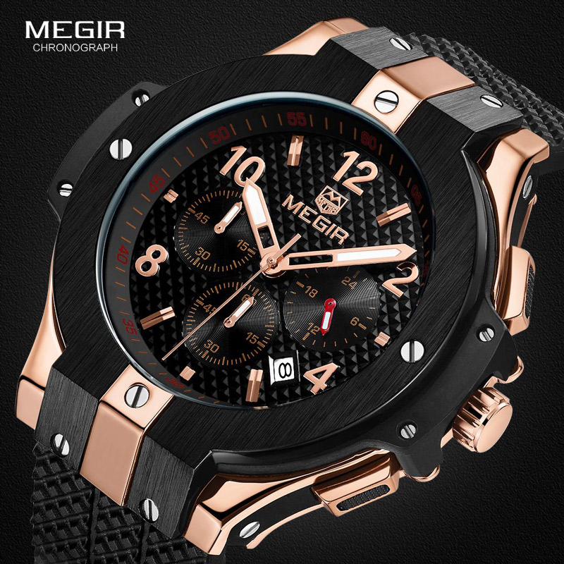 MEGIR hot casual quartz watches men fashion waterproof sport running watch for man chronograph cycling wristwatch for male 2050 megir 2017 fashion creative sport waterproof quartz watch men casual leather brand wristwatch luminous stop wristwatch for male