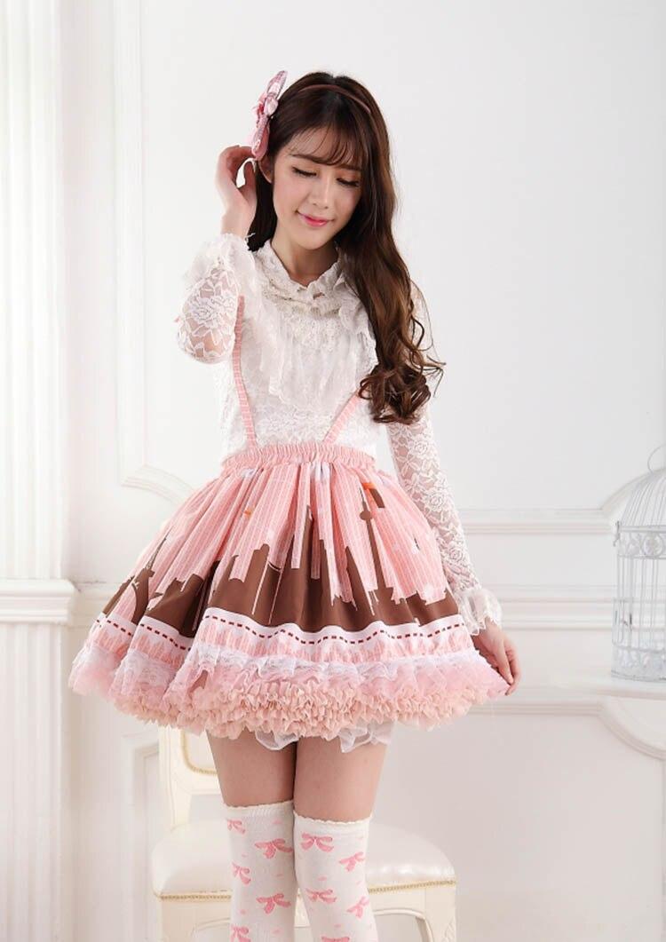 ᗜ LjഃPlisada rosada encantadora moderna de Lolita Encaje falda del ...