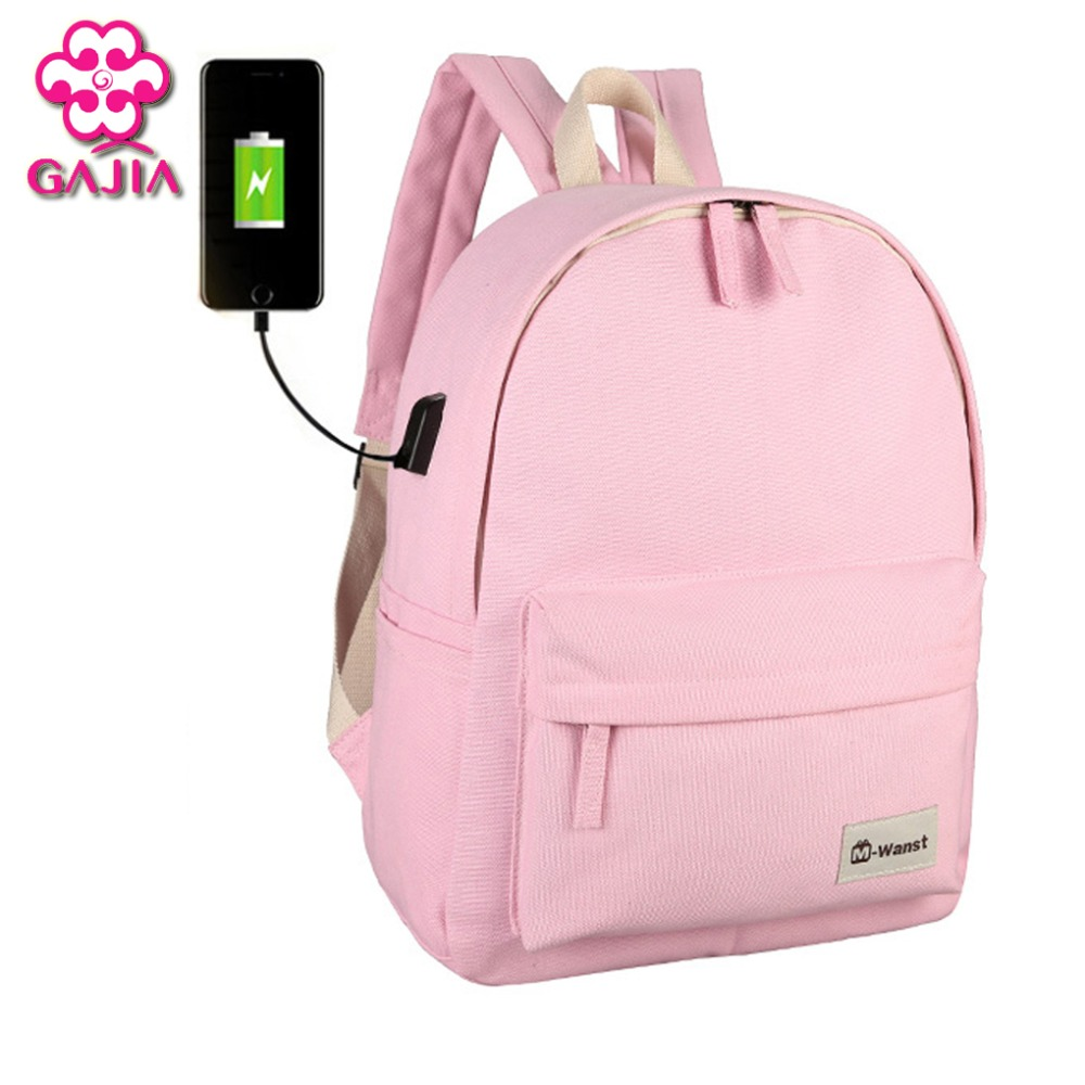 GAJIA External Charging USB Backpack Women Travel Bag Canvas Backpack College Student School Backpack Bags for Teenagers Mochila new design usb charging men s backpacks male casual travel luminous mochila teenagers women student school bags laptop backpack