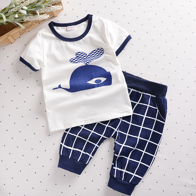 Toddler Boy Clothing Set 2017 Summer Fashion Children Boys Clothes Boutique Baby Boy Costume T-shirt + Pants 100% Cotton T527