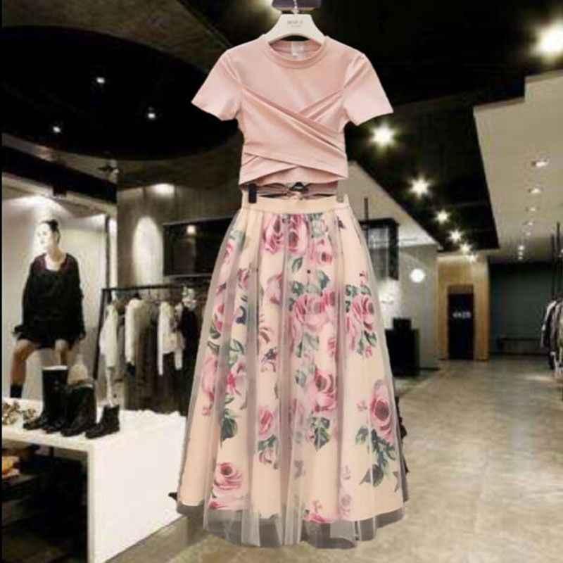 Pink Floral T-Shirt Skirt