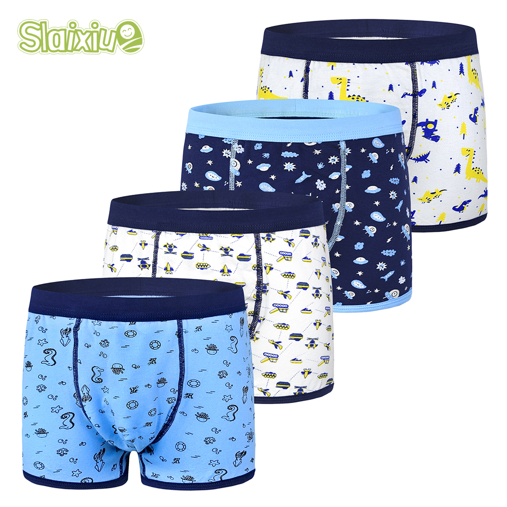 4Pcs/lot Cotton Kids Boys Underwear Boxer Baby Children Panties Briefs For Boy Soft Organic For 2-10years Teenager Underpants