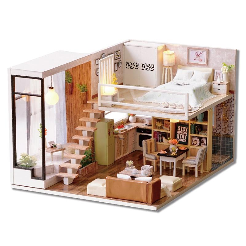 Maison de poupée Miniature BRICOLAGE Dollhouse Avec Meubles En Bois Maison D'attente Temps Jouets Pour Enfants Cadeau D'anniversaire