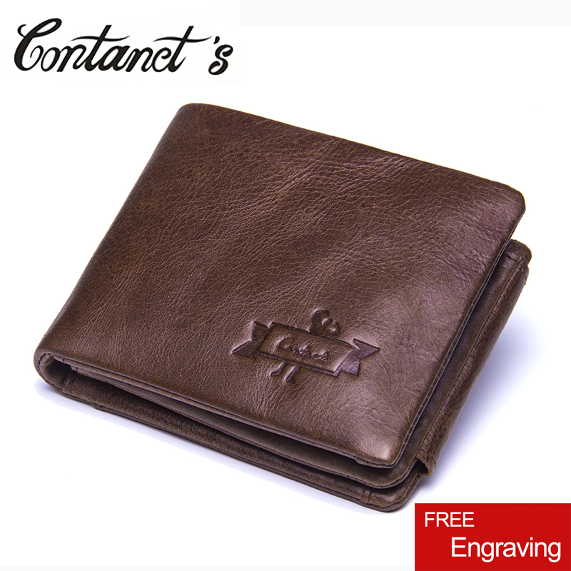 NEW Genuine Leather Organizer Wallets For Men Short Style Design Trifold Male Purse Photo Holder Wallet With Coin Pocket 2018