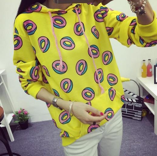 Filhós bonito imprimir pullovers hoodies mulheres outono camisolas amarela tamanho grande S-XXL feminino moleton sudaderas mujer moda