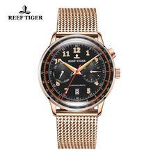 リーフ虎/RT 高級ブランドのヴィンテージ腕時計メンズローズゴールド多機能自動腕時計ブレスレット腕時計バンド防水 RGA9122