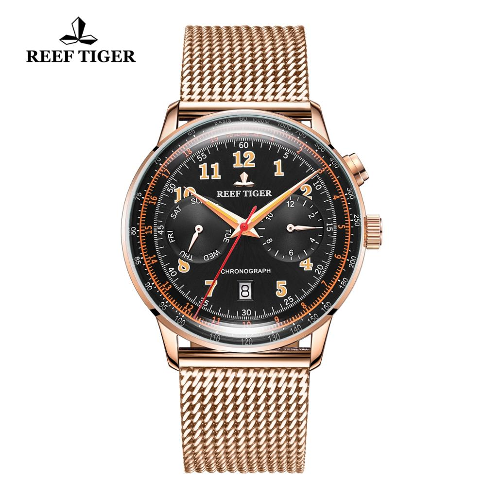 Reef Tiger/RT Luxury Brand Vintage Watch Men Rose Gold Multi Function Automatic Watches Bracelet Watchband Waterproof RGA9122