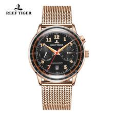 Reef Tiger/RT Luxury Brand Vintage Watch Men Rose Gold Multi Function Automatic Watches Bracelet Watchband Waterproof RGA9122