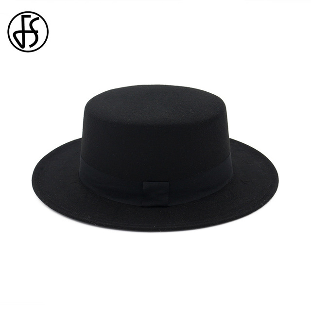 FS Men Black Wool Flat Top Hat Boater For Women Wide Brim Felt Fedora Hats  Gentleman 6c745ac4e67a
