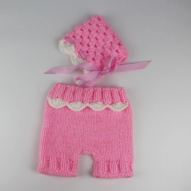 Baby beanie photography ribbon flower hats for girls photo shoot pink cap and pants set costume newborn props