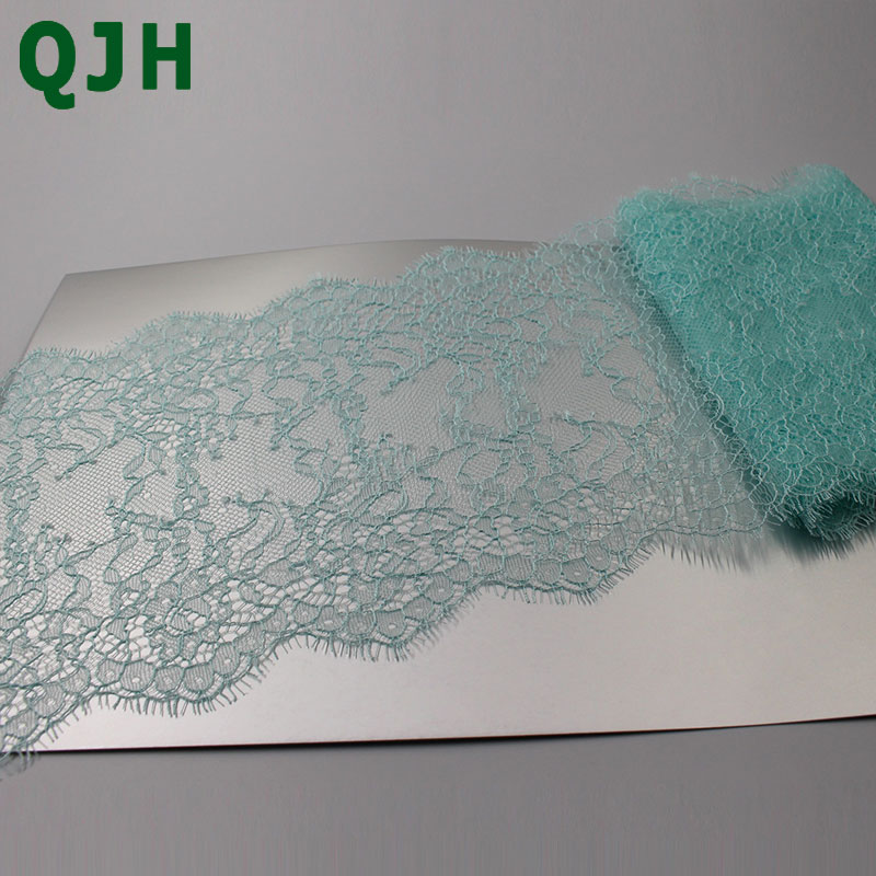 3 Meter 16cm Wide Mint Green Eyelash Lace Trim Fabric Flower DIY Crafts Wedding Dress Clothing Lngeire lace material Handmade in Lace from Home Garden