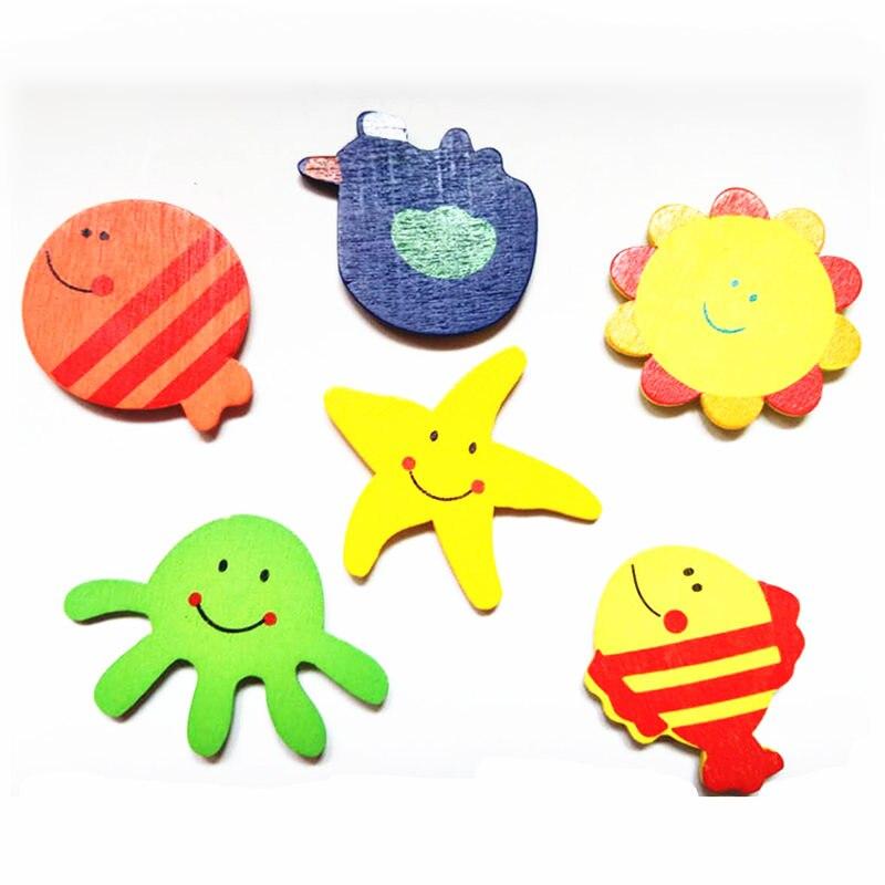 6 шт./лот мультфильм животных наклейки детей раннего обучения творческие подарки развивающие игрушки холодильник наклейки деревянные магн...