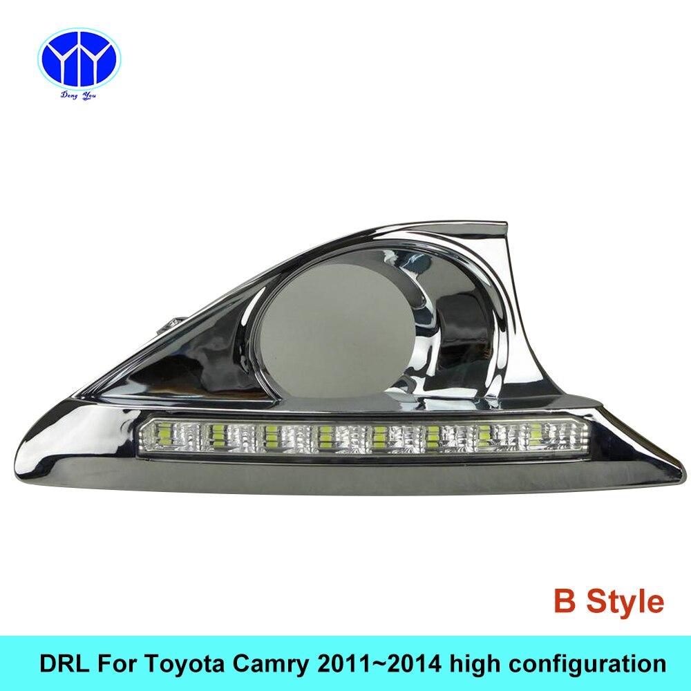 2 шт./компл. светодиодный DRL автомобилей дневной Габаритные огни для Toyota Camry 2011 2012 2013 2014 с сигнальные лампы Функция