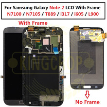 AMOLED LCDFor Samsung Galaxyหมายเหตุ2 Note2 N7100 N7105 T889 I317 I605 L900 LCDกรอบTouch Screen Digitizer assembly