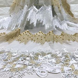 Image 3 - Fashion African Lace Fabric High Quality White gold Lace Nigerian Lace Fabric 2019 High Quality Lace With Beaded 5yards