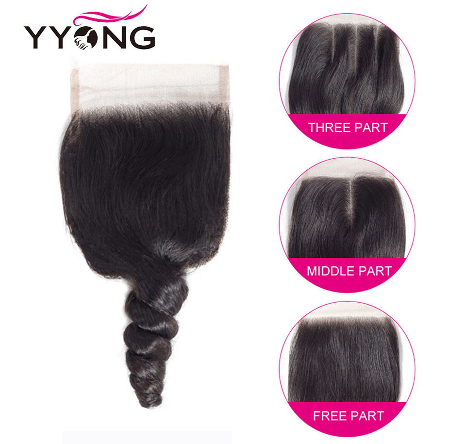 Yyong  Loose Wave Bundles With Closure 100%   4 Bundles With Lace Closure No Shedding No Tangle  6