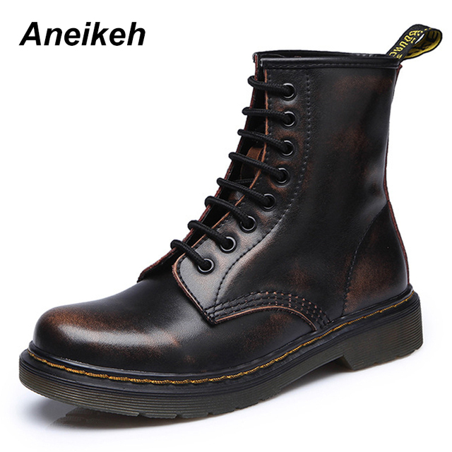 Aneikeh Women Ankle Boots Shoes Woman 2018 Spring Fall Genuine Leather Lace Up Shoes Punk Plus Size 43 44 Riding, Equestr Boots 1