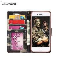 Laumans Erkekler Kamuflaj desen Flip Gerçek Deri Kartı cüzdan cep Telefonu iphone 5 5 s 6 6 s 7 artı telefon çantası kapak