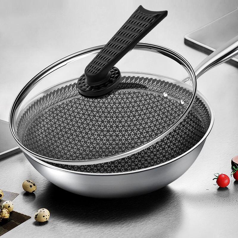 Poêle antiadhésive Wok en acier inoxydable sans fumée d'huile poêle à Wok domestique Non revêtue casserole à Induction marmite de cuisine poêle marmite