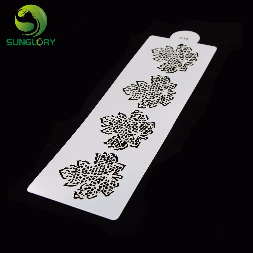 5PCS Leaves Cake Stencil Fondant Mold Cake Decoration Stencils Butterfly Bird Template Mold Cookie Cupcake Coffee Baking Tools in Other Cake Tools from Home Garden