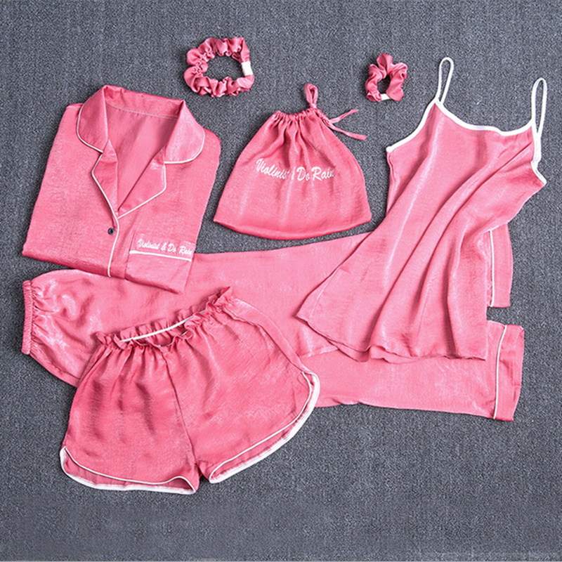 7 Pieces Pink Women   Pajamas     Sets   solid Homewear Satin Silk Sleepwear 2019 Autumn Spring Homewear Pijama Lingerie Nightdress