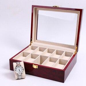 Image 3 - 새로운 나무 시계 디스플레이 박스 케이스 라이트 레드 나무 시계 주최자 홀더 창 스토리지 보석 선물 상자