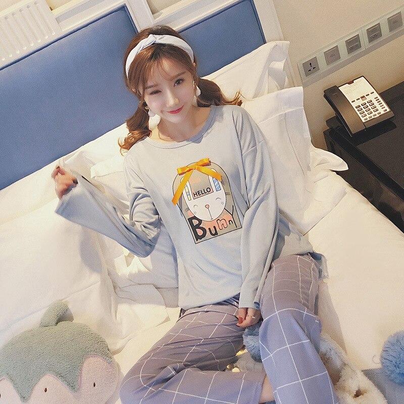 Female   Pajamas   Suit Women   Pajamas   Autumn Winter   Pajamas     Set   Women Sleepwear Cotton longsleeve Tops + Pants Sleep Pyjama Loungewe