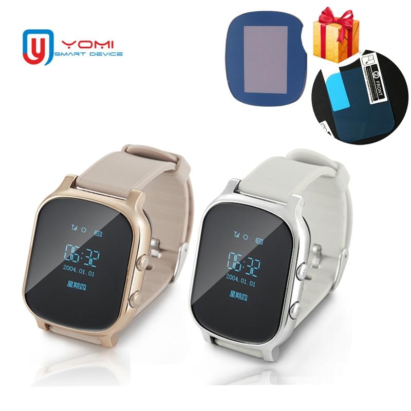 Смарт-часы T58 с Стекло Плёнки gps Смарт-часы Поддержка sim-карты gps Finder Носимых трекер активности для детей и взрослых