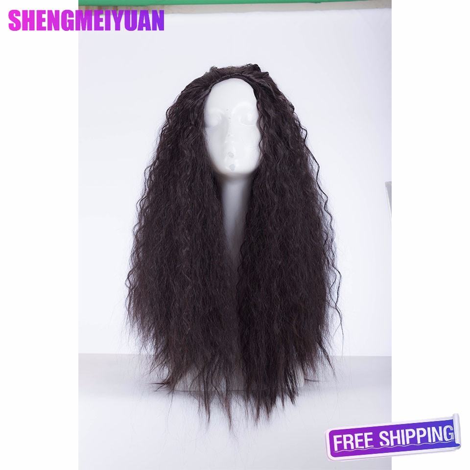 FREE SHIPPING 2016 New Movie Moana 75cm long wavy curly dark brown cosplay wig +a wig cap654