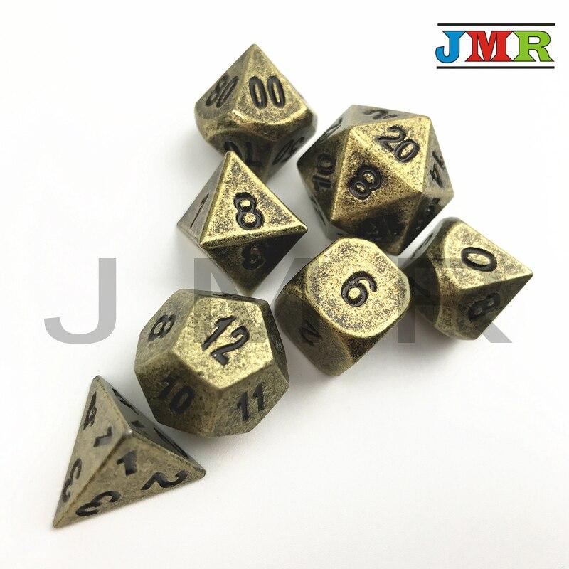 7pcs-dies dados metal para rpg, conjunto de d4 d8 d10 d10 % d12 d20 dungeons e dragões dados de metal, jogo de mesa, com caixa de ferro