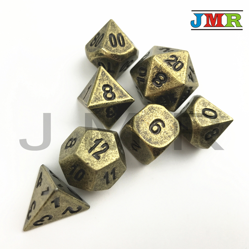 7pcs-dies Dados De Metal para Rpg, conjunto de D4 D8 D10 D10 % D12 D20 Dungeons And Dragons Dados Do Metal, Jogo de mesa, com Caixa de Ferro