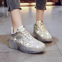 Rimocy silver crystal vulcanize shoes woman rhinestone transparent PVC platform  sneakers women breathable casual shoes flats 3e12787e54e0