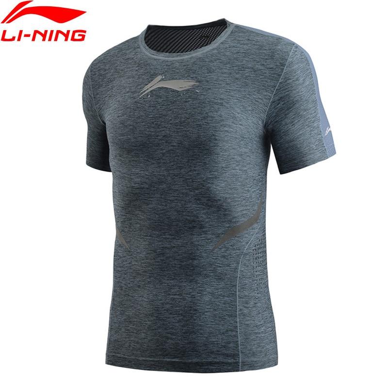 Li-Ning Men Training T-Shirt Base Layer Tight Fit Polyester Spandex LiNing Li Ning Breathable Sports Tee Tops AUDP019 MTS3032