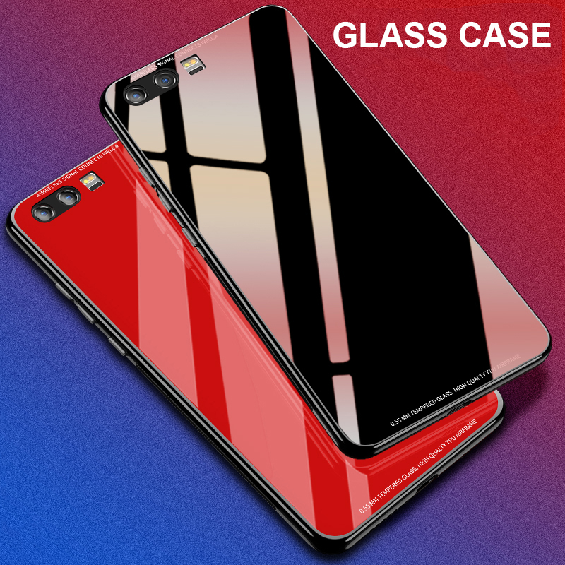 MAKAVO for <font><b>Huawei</b></font> <font><b>P10</b></font> <font><b>Case</b></font> Luxury Hybrid Tempered <font><b>Glass</b></font> Back Cover Shockproof Sleeve Hard Housing for <font><b>Huawei</b></font> <font><b>P10</b></font> Plus image