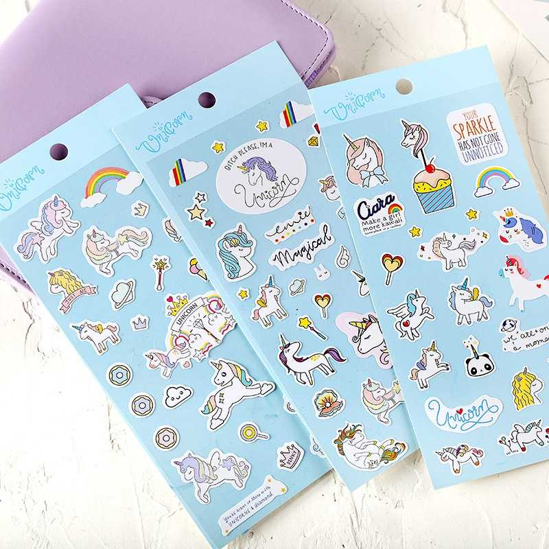 Unicorn Stickers Cartoon Waterproof Scrapbook Stick Label Stickers Pack Books Diary Stationery Album Funny Sticker Classic Toys