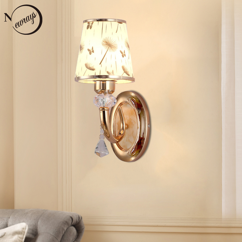 Modern plated metal glass crystal novel wall Lamp LED E27 220V bright Wall Lights for living room bedroom restaurant hotel cafe modern luxury glass diamond shape pendant lamp restaurant hotel clubs cafe pub shop exhibition fair shining crystal drop lights
