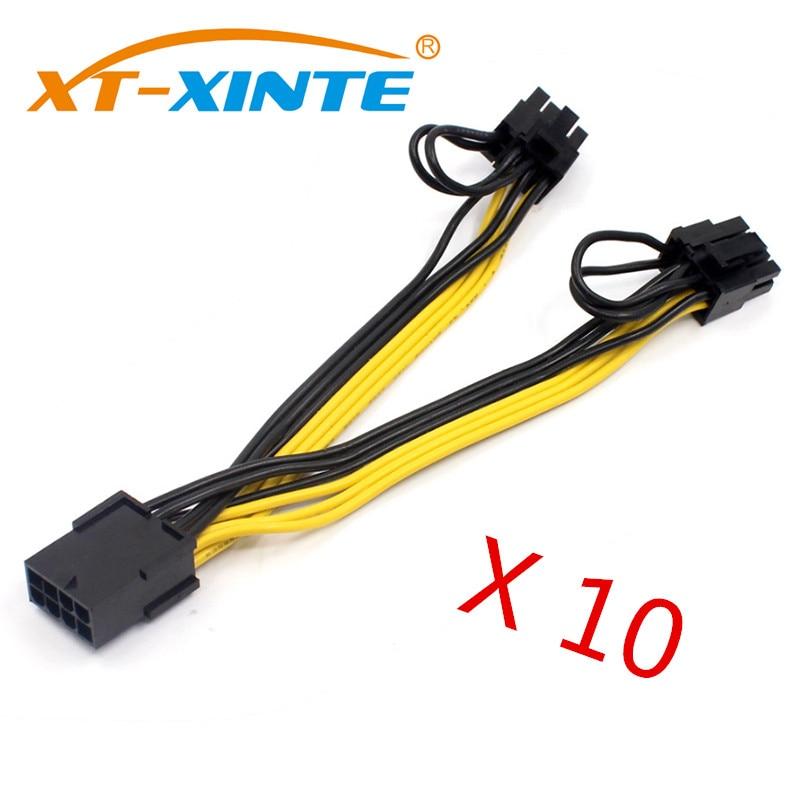 Видеокарта PCI-E PCIE 10 шт./лот, переходник с разъемом «мама» на 2 порта, двойной 8-контактный разъем 6 + 2 p, вилка для графического процессора, кабел...