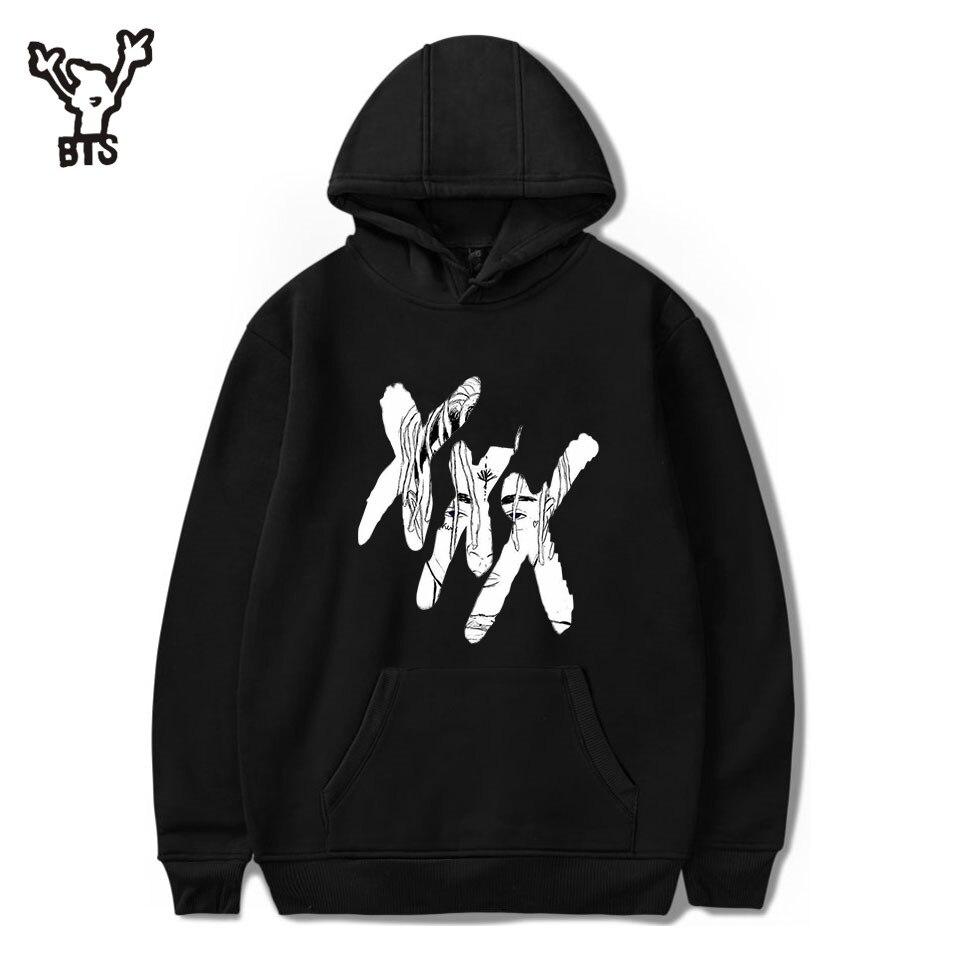BTS 2018 XXXTentacion Hoodies hombres/mujeres Casual Pullover Streetwear Sudadera Hombre Harajuku masculino campana cuello redondo 4XL