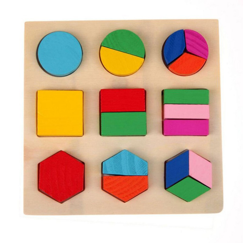 3 Styles Kids Baby Toys Wooden Geometry Block Assembly Early Learning Educational Teaching Toys