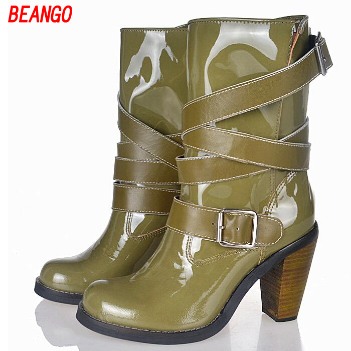 BEANGO Hot Sale Mid Calf Booties Thick Heel Women Boots Slip On Shoes Woman Belt Buckle Femme Fashion Knight Boots Zapatos Mujer hot sale hot sale car seat belts certificate of design patent seat belt for pregnant women care belly belt drive maternity saf