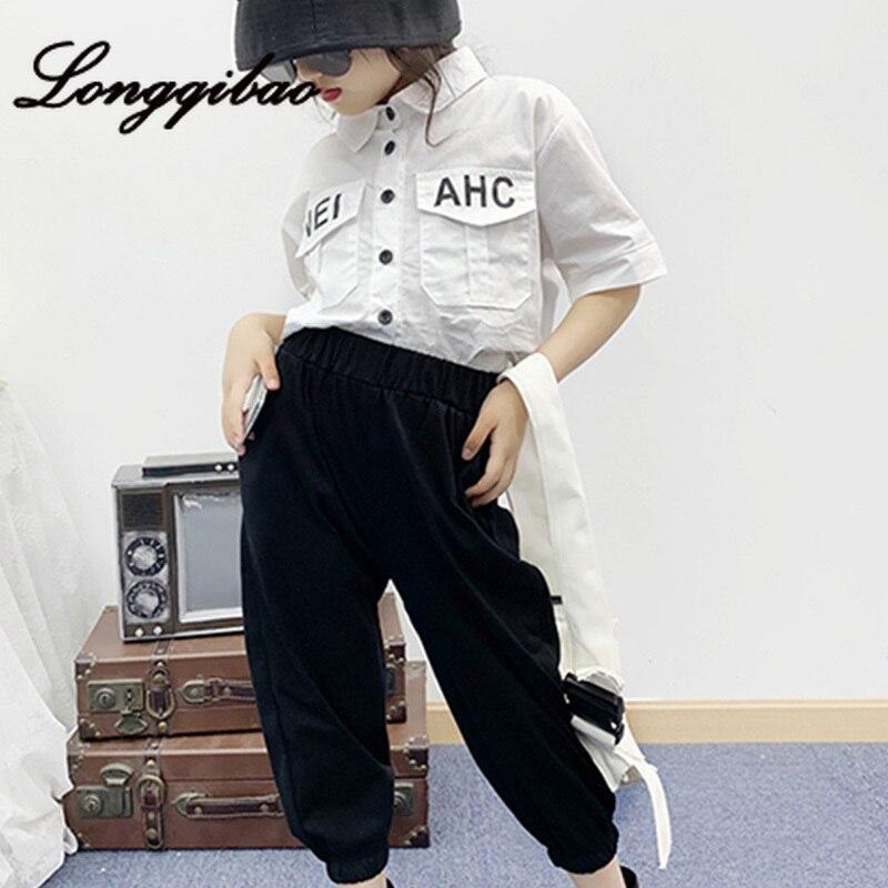 Bébé fille outillage coton costume 2019 été nouvelle mode coréenne enfants à manches courtes chemise sept pantalons deux ensembles de marée