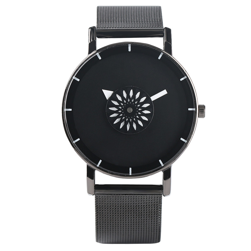 Fashion Creative Men Watches Turntable Analog Sports Unisex Watch Stainless Steel Strap Quartz Couple Wristwatch Xmas Gifts