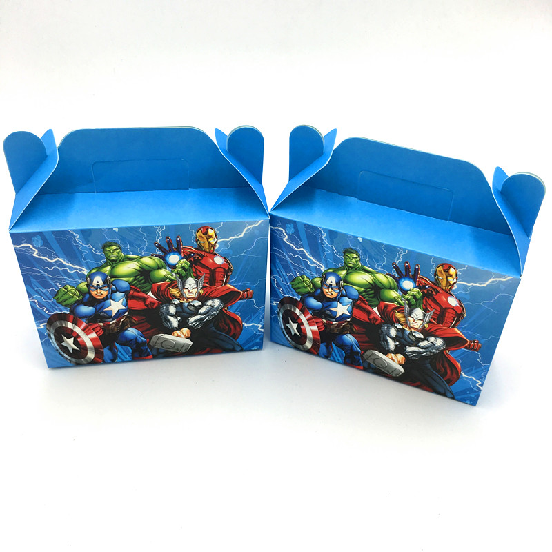 6pcs/lot Wholesale On Sale Avengers Candy Boxes Avengers Kids Birthday Favors Avengers Gift Boxes Birthday Party Supplies