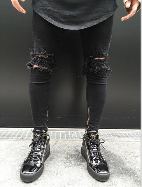 2017 New Fashion Designers Mens Knee Ripped Pencil Stretch Jeans