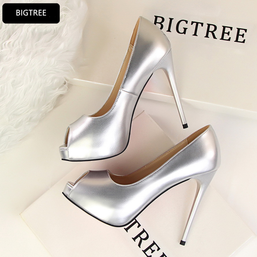 New 2018 Sexy Peep Toe Platform Pumps Women High Heels Shoes Night Club Party Shoes Patent Leather Elegant Ultra Heel 12CM Red women silver high heels wedding shoes elegant rhinestone thin heel 10cm 8 5cm patent leather sexy pumps elegant sexy shoes
