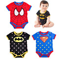 2016 verão moda bebê custume macacão de manga curta superman batman superhero newborn bebe macacões infantil clothing spiderman