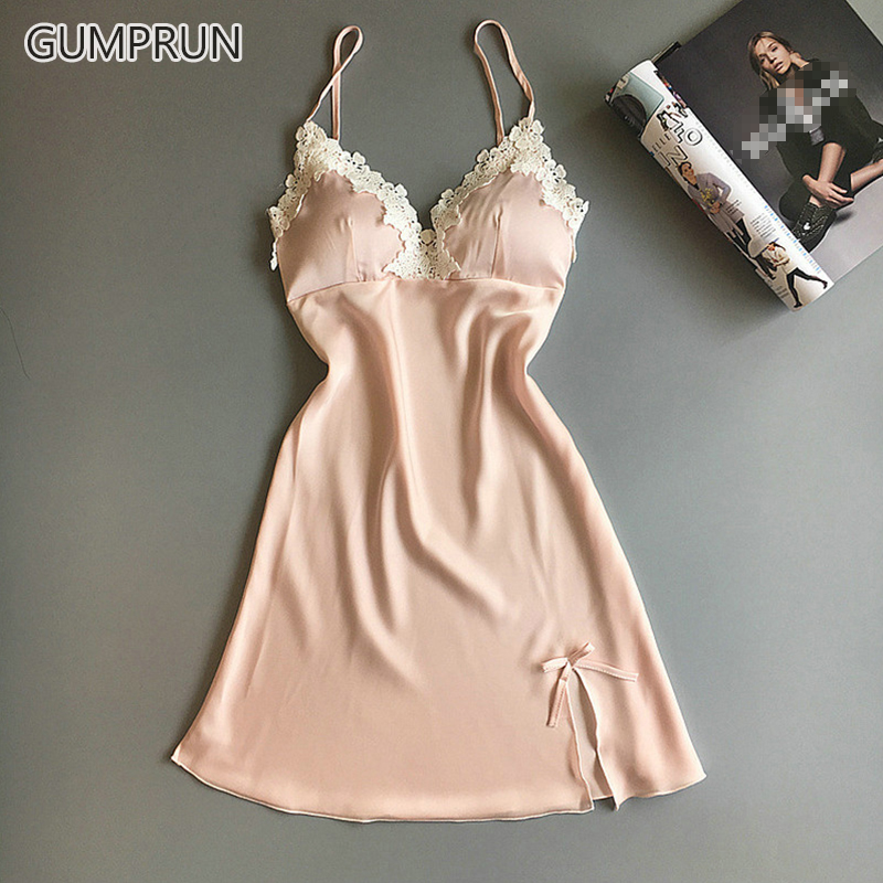 GUMPRUN 2019 Women Sexy Silk Satin Nightgown Sleeveless Nightdress V-neck Summer Lace Sexy Sleepwear Cozy Sling Lingerie
